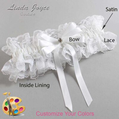 Customizable Wedding Garter / Venessa #11-B12-M04-Silver