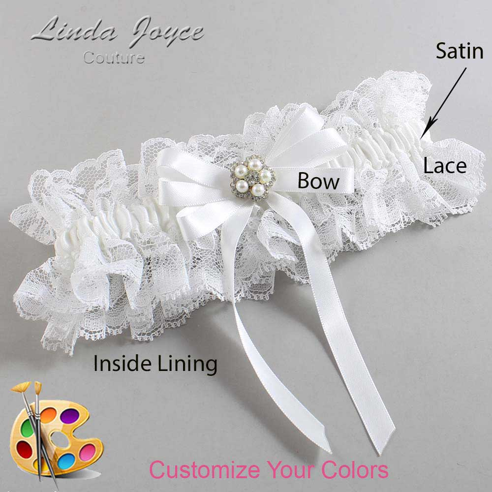 Customizable Wedding Garter / Candice #11-B12-M20-Silver