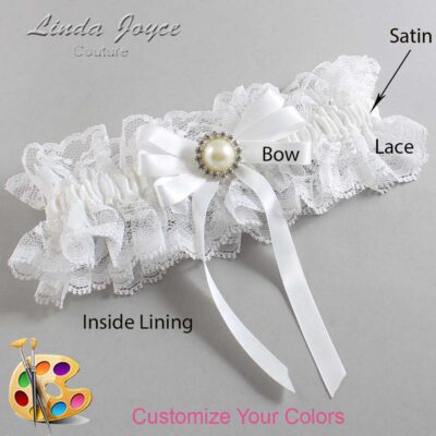 Customizable Wedding Garter / Carol #11-B12-M22-Silver