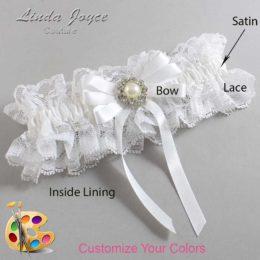 Customizable Wedding Garter / Wanda #11-B12-M24-Silver