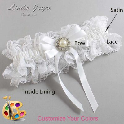 Customizable Wedding Garter / Wanda #11-B12-M24-Silver