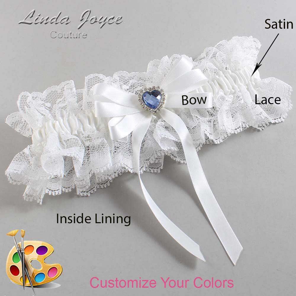 Customizable Wedding Garter / Winnie #11-B12-M25-Silver-Light-Sapphire