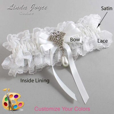 Customizable Wedding Garter / Priscilla #11-B12-M33-Silver
