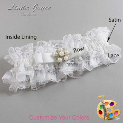 Customizable Wedding Garter / Haley #11-B20-M13-Silver