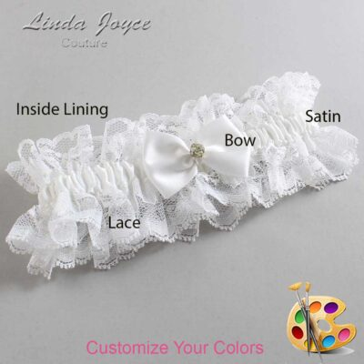 Customizable Wedding Garter / Melba #11-B21-M03-Gold
