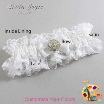 Customizable Wedding Garter / Abigail #11-B21-M11-Silver