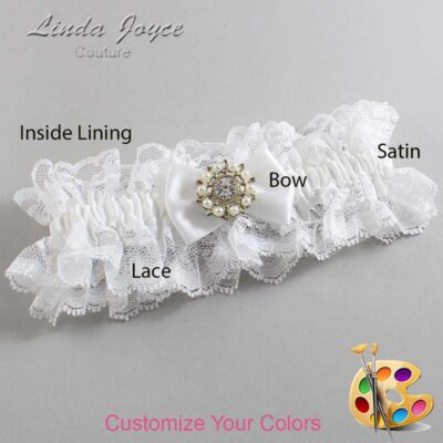 Customizable Wedding Garter / Beth #11-B21-M14-Silver
