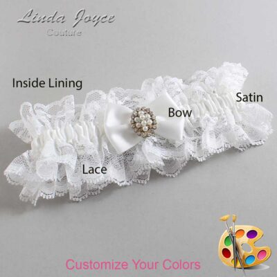 Customizable Wedding Garter / Betty #11-B21-M17-Gold