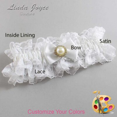 Customizable Wedding Garter / Carlene #11-B21-M21-Gold