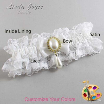 Customizable Wedding Garter / Victoria #11-B21-M34-Gold