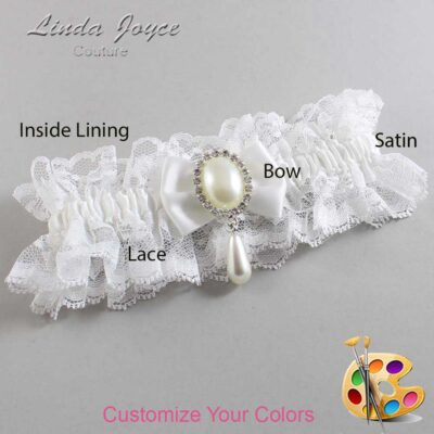 Customizable Wedding Garter / Victoria #11-B21-M35-Silver