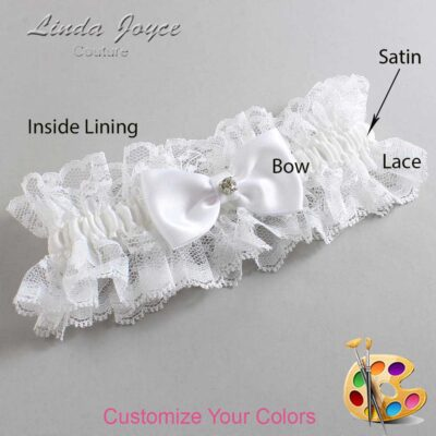 Customizable Wedding Garter / Jodi #11-B29-M04-Silver