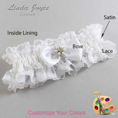 Customizable Wedding Garter / Julie #11-B31-M23-Silver