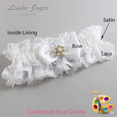 Customizable Wedding Garter / Melissa #11-B31-M27-Silver