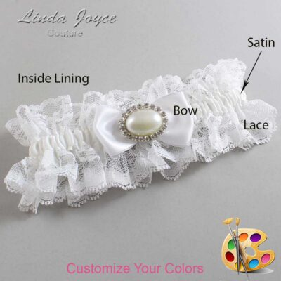 Customizable Wedding Garter / Juliette #11-B31-M30-Silver