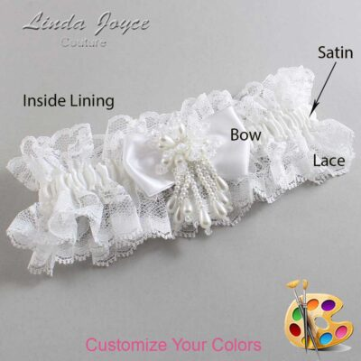 Customizable Wedding Garter / Joelle #11-B31-M38-Pearl