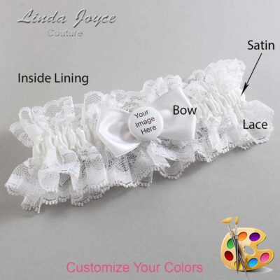 Couture Garters / Custom Wedding Garter / Customizable Wedding Garters / Personalized Wedding Garters / Custom Button #11-B31-M44 / Wedding Garters / Bridal Garter / Prom Garter / Linda Joyce Couture