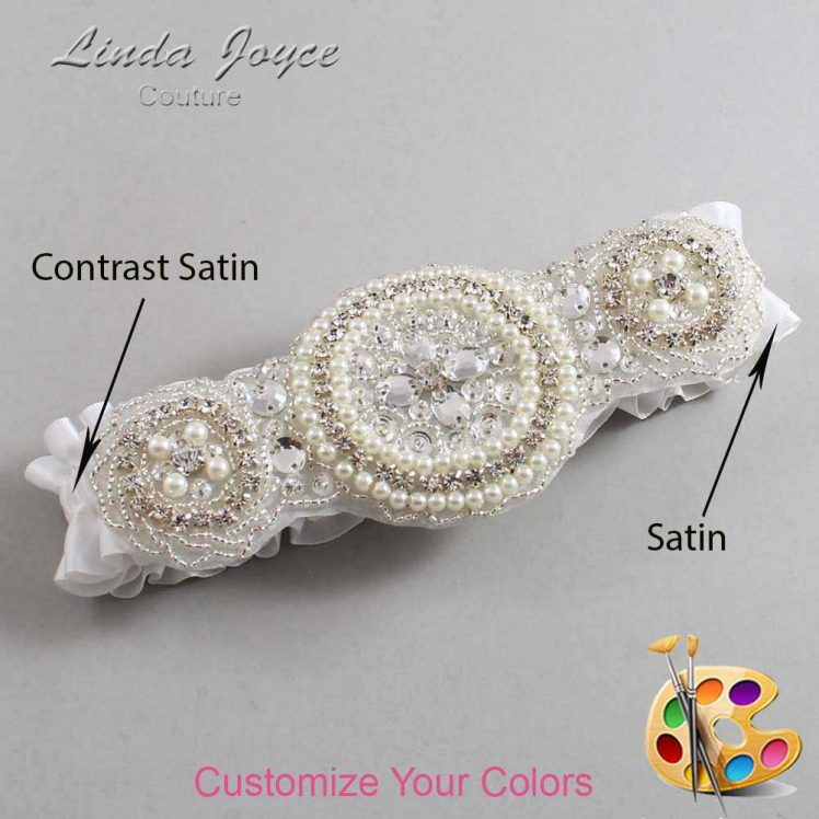 Couture Garters / Custom Wedding Garter / Customizable Wedding Garters / Personalized Wedding Garters / Linda #01-A00 / Wedding Garters / Bridal Garter / Prom Garter / Linda Joyce Couture