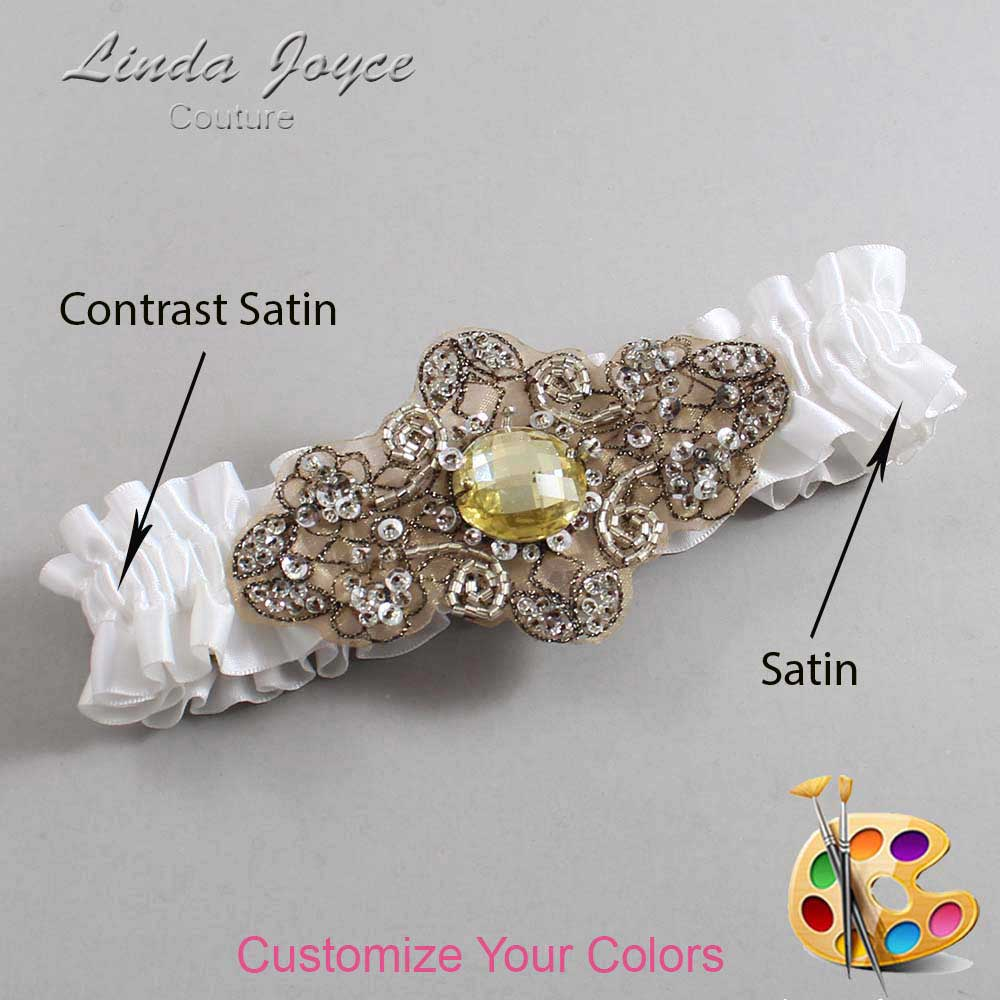 Couture Garters / Custom Wedding Garter / Customizable Wedding Garters / Personalized Wedding Garters / Bijou # 01-A01-Antique / Wedding Garters / Bridal Garter / Prom Garter / Linda Joyce Couture
