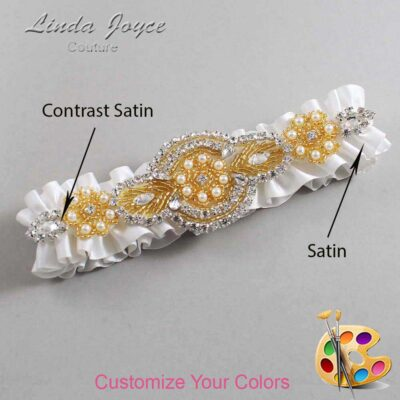 Couture Garters / Custom Wedding Garter / Customizable Wedding Garters / Personalized Wedding Garters / Charlotte #01-A05-Gold / Wedding Garters / Bridal Garter / Prom Garter / Charlotte Joyce Couture