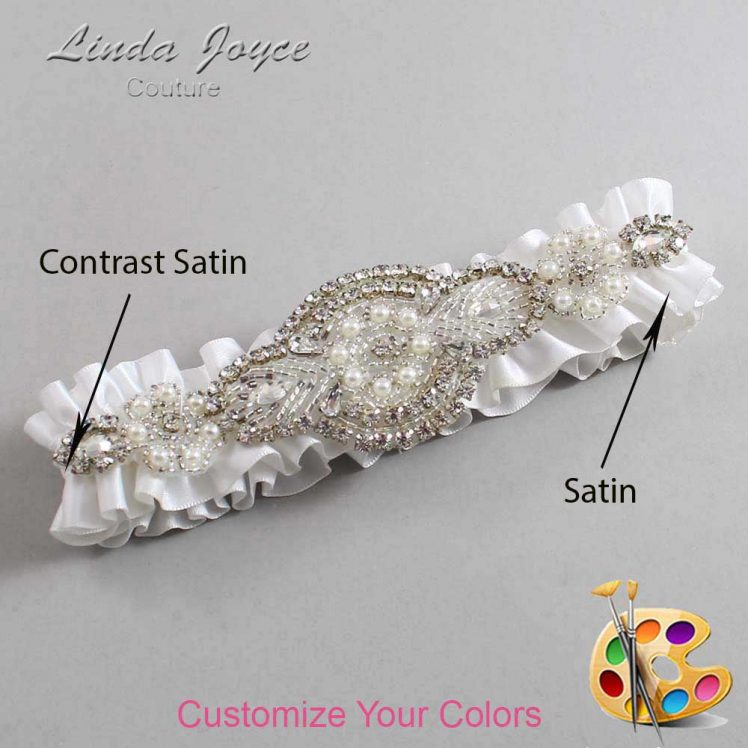 Couture Garters / Custom Wedding Garter / Customizable Wedding Garters / Personalized Wedding Garters / Charlotte #01-A06-Silver / Wedding Garters / Bridal Garter / Prom Garter / Charlotte Joyce Couture