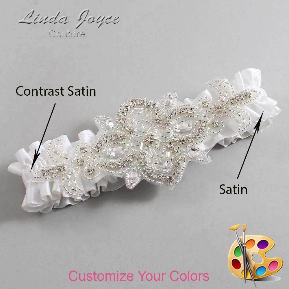 Couture Garters / Custom Wedding Garter / Customizable Wedding Garters / Personalized Wedding Garters / Isabella #01-A08-Silver / Wedding Garters / Bridal Garter / Prom Garter / Isabella Joyce Couture