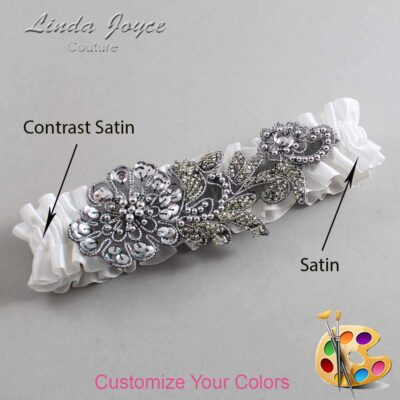 Couture Garters / Custom Wedding Garter / Customizable Wedding Garters / Personalized Wedding Garters / Mitzi #01-A10-Gunmetal / Wedding Garters / Bridal Garter / Prom Garter / Mitzi Joyce Couture