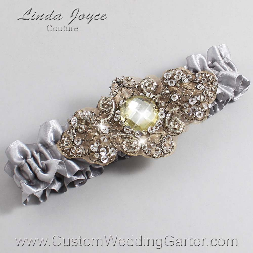 Grey and Brown Wedding Garter / Gray Wedding Garters / Bijou #01-A01-012-Grey_Antique / Wedding Garters / Custom Wedding Garters / Bridal Garter / Prom Garter / Linda Joyce Couture