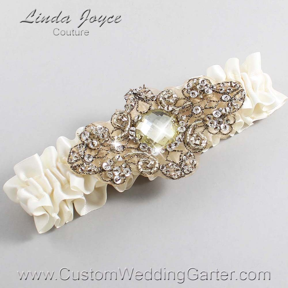 Old Lace and Brown Wedding Garter / Ivory Wedding Garters / Bijou #01-A01-028-Old-Lace_Antique / Wedding Garters / Custom Wedding Garters / Bridal Garter / Prom Garter / Linda Joyce Couture