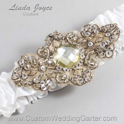 White and Brown Wedding Garter / White Wedding Garters / Bijou #01-A01-112-White_Antique / Wedding Garters / Custom Wedding Garters / Bridal Garter / Prom Garter / Linda Joyce Couture