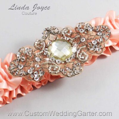 Moonstone and Brown Wedding Garter / Orange Wedding Garters / Bijou #01-A01-203-Moonstone_Antique / Wedding Garters / Custom Wedding Garters / Bridal Garter / Prom Garter / Linda Joyce Couture