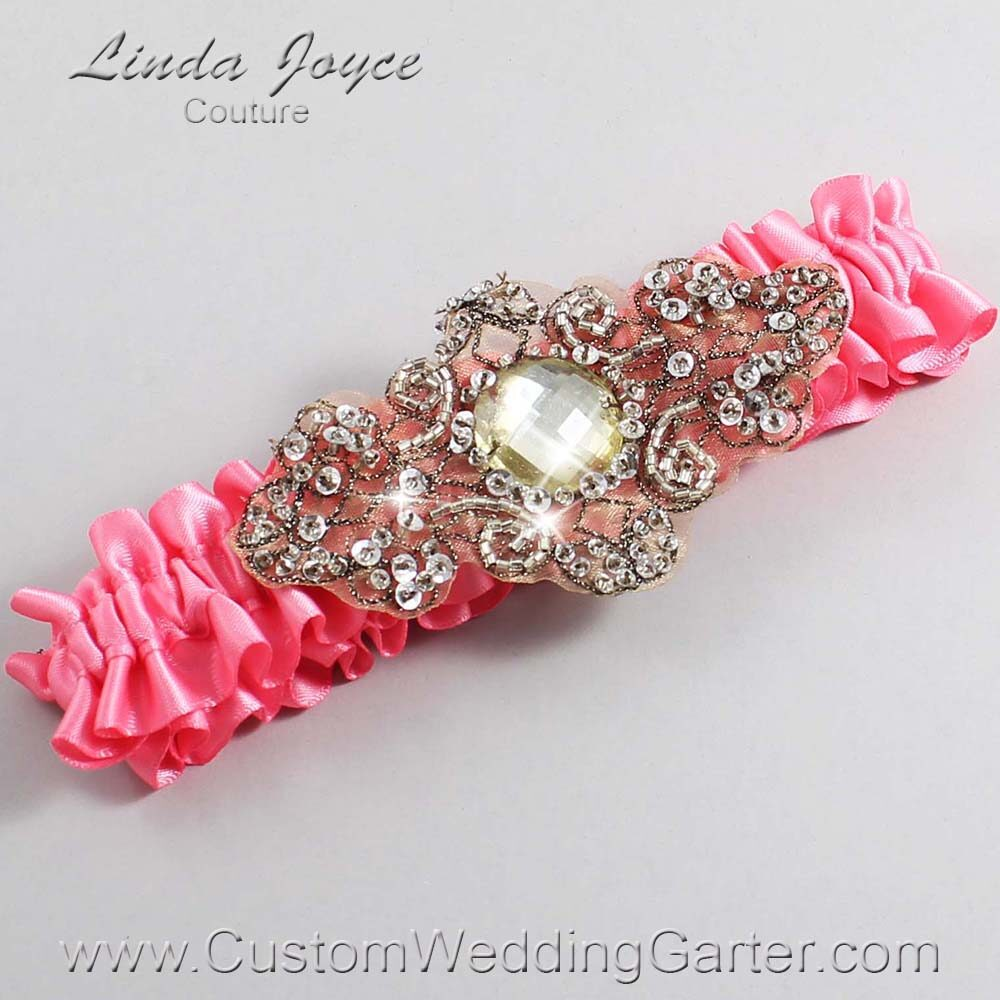 Coral Rose and Brown Wedding Garter / Pink Wedding Garters / Bijou #01-A01-210-Coral-Rose_Antique / Wedding Garters / Custom Wedding Garters / Bridal Garter / Prom Garter / Linda Joyce Couture