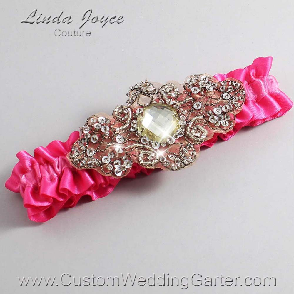 Fuchsia and Brown Wedding Garter / Pink Wedding Garters / Bijou #01-A01-233-Fuchsia_Antique / Wedding Garters / Custom Wedding Garters / Bridal Garter / Prom Garter / Linda Joyce Couture