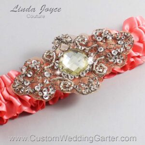 Light Coral and Brown Wedding Garter / Orange Wedding Garters / Bijou #01-A01-238-Light-Coral_Antique / Wedding Garters / Custom Wedding Garters / Bridal Garter / Prom Garter / Linda Joyce Couture