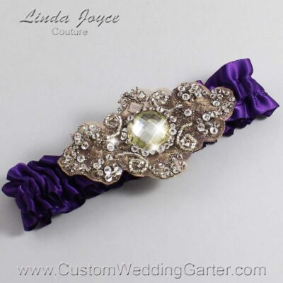 Plum and Brown Wedding Garter / Purple Wedding Garters / Bijou #01-A01-285-Plum_Antique / Wedding Garters / Custom Wedding Garters / Bridal Garter / Prom Garter / Linda Joyce Couture