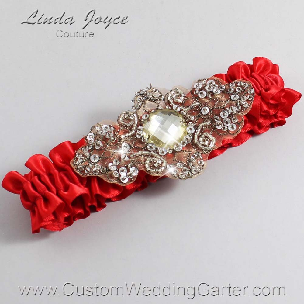 Red and Brown Wedding Garter / Red Wedding Garters / Bijou #01-A01-299-Red_Antique / Wedding Garters / Custom Wedding Garters / Bridal Garter / Prom Garter / Linda Joyce Couture