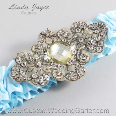 Alice Blue and Brown Wedding Garter / Blue Wedding Garters / Bijou #01-A01-305-Alice-Blue_Antique / Wedding Garters / Custom Wedding Garters / Bridal Garter / Prom Garter / Linda Joyce Couture