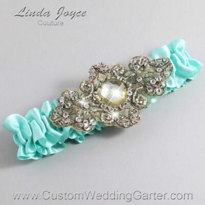 Aqua and Brown Wedding Garter / Teal Wedding Garters / Bijou #01-A01-314-Aqua_Antique / Wedding Garters / Custom Wedding Garters / Bridal Garter / Prom Garter / Linda Joyce Couture