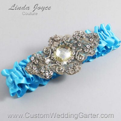 Turquoise and Brown Wedding Garter / Blue Wedding Garters / Bijou #01-A01-340-Turquoise_Antique / Wedding Garters / Custom Wedding Garters / Bridal Garter / Prom Garter / Linda Joyce Couture