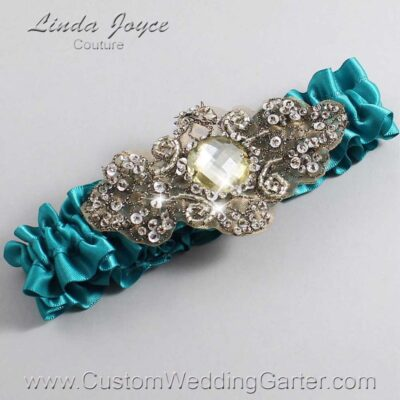Jade and Brown Wedding Garter / Teal Wedding Garters / Bijou #01-A01-346-Jade_Antique / Wedding Garters / Custom Wedding Garters / Bridal Garter / Prom Garter / Linda Joyce Couture