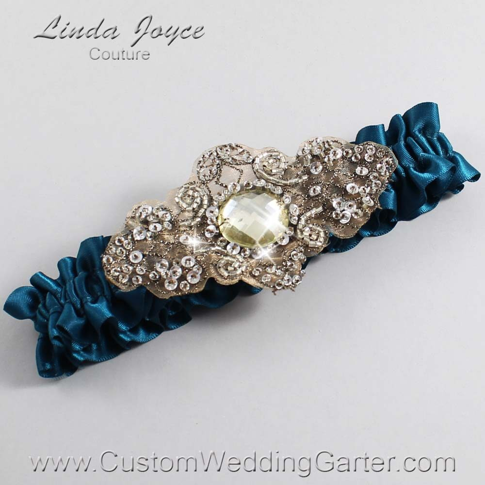 Teal and Brown Wedding Garter / Teal Wedding Garters / Bijou #01-A01-347-Teal_Antique / Wedding Garters / Custom Wedding Garters / Bridal Garter / Prom Garter / Linda Joyce Couture