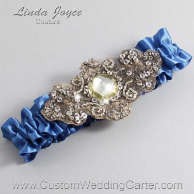 Smoke Blue and Brown Wedding Garter / Blue Wedding Garters / Bijou #01-A01-363-Smoke-Blue_Antique / Wedding Garters / Custom Wedding Garters / Bridal Garter / Prom Garter / Linda Joyce Couture