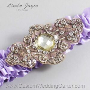 Lavender and Brown Wedding Garter / Purple Wedding Garters / Bijou #01-A01-430-Lavender_Antique / Wedding Garters / Custom Wedding Garters / Bridal Garter / Prom Garter / Linda Joyce Couture