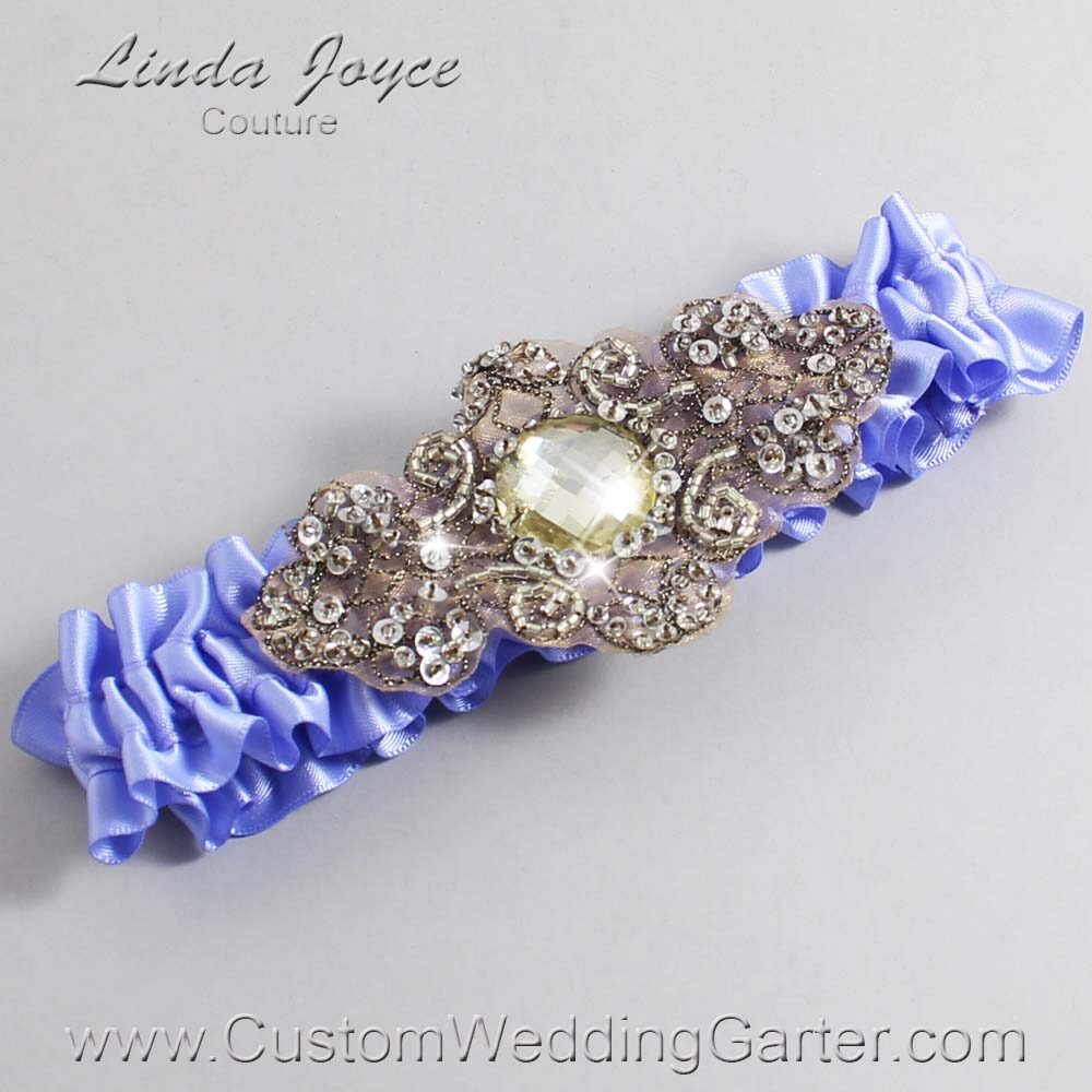 Iris and Brown Wedding Garter / Purple Wedding Garters / Bijou #01-A01-447-Iris_Antique / Wedding Garters / Custom Wedding Garters / Bridal Garter / Prom Garter / Linda Joyce Couture