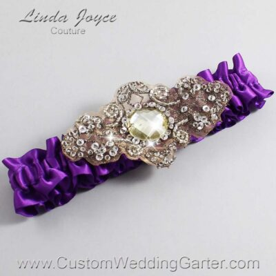 Ultra Violet and Brown Wedding Garter / Purple Wedding Garters / Bijou #01-A01-467-Ultra-Violet_Antique / Wedding Garters / Custom Wedding Garters / Bridal Garter / Prom Garter / Linda Joyce Couture