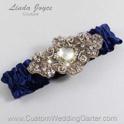 (Satin_Color_Name) and Brown Wedding Garter / Blue Wedding Garters / Bijou #01-A01-508-Navy-Blue_Antique / Wedding Garters / Custom Wedding Garters / Bridal Garter / Prom Garter / Linda Joyce Couture