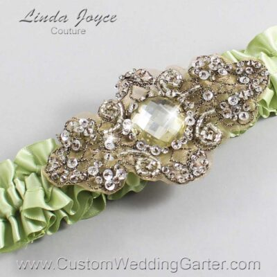 Lime Juice and Brown Wedding Garter / Green Wedding Garters / Bijou #01-A01-524-Lime-Juice_Antique / Wedding Garters / Custom Wedding Garters / Bridal Garter / Prom Garter / Linda Joyce Couture