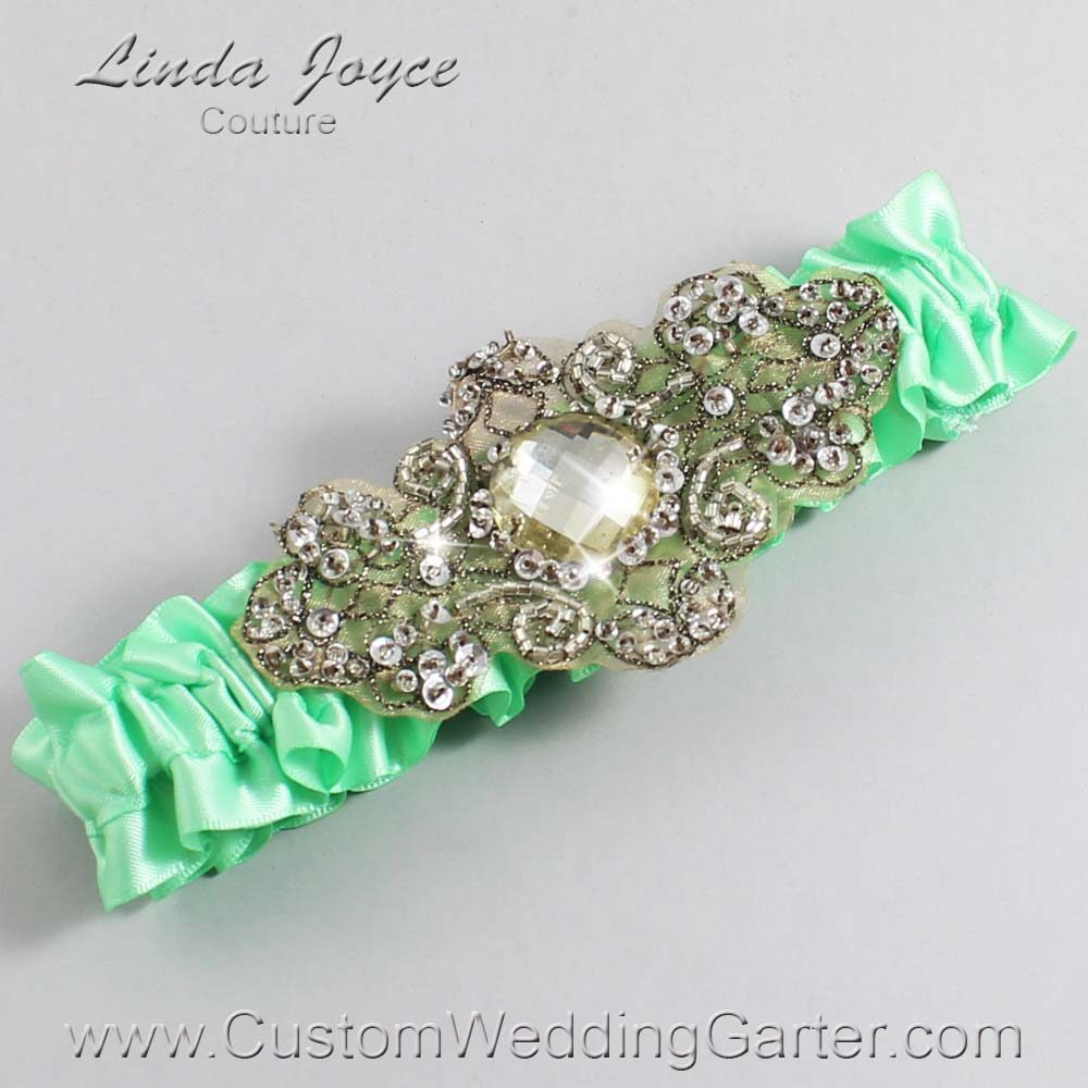 Mint and Brown Wedding Garter / Green Wedding Garters / Bijou #01-A01-531-Mint_Antique / Wedding Garters / Custom Wedding Garters / Bridal Garter / Prom Garter / Linda Joyce Couture