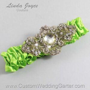 Green Yellow and Brown Wedding Garter / Green Wedding Garters / Bijou #01-A01-550-Green-Yellow_Antique / Wedding Garters / Custom Wedding Garters / Bridal Garter / Prom Garter / Linda Joyce Couture
