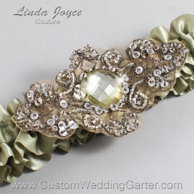 Soft Pine and Brown Wedding Garter / Green Wedding Garters / Bijou #01-A01-566-Soft-Pine_Antique / Wedding Garters / Custom Wedding Garters / Bridal Garter / Prom Garter / Linda Joyce Couture